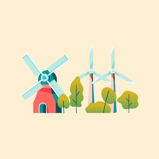 Ahorro de energía con energía eólica.
