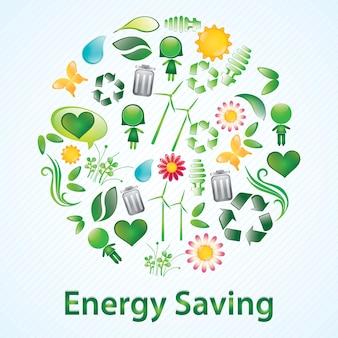 Ahorro de energía hermosa iconos brillantes ilustración vectorial