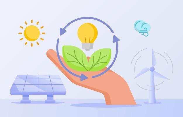 Ahorro de energía renovable, asimiento de la mano, hoja, bombilla, lámpara, viento, energía solar, panel solar