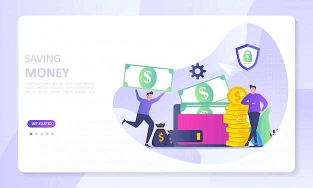 Ahorro financiero dinero a la página de inicio del banner de billetera electrónica