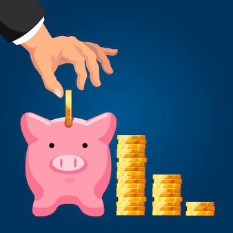 Ahorro de fondos de pensiones. ahorrando monedas de un dólar