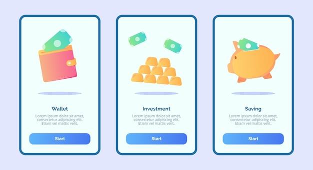 Ahorro de inversión en billetera para aplicaciones móviles