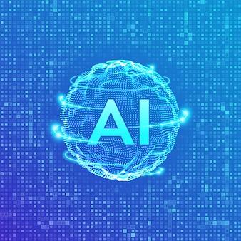 Ai. concepto de inteligencia artificial y aprendizaje automático.