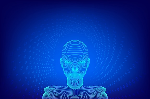 Ai. inteligencia artificial . ai cerebro digital. resumen rostro humano digital. cabeza humana en interpretación de computadora digital robot. robótica concepto de cabeza de estructura metálica. ilustración.