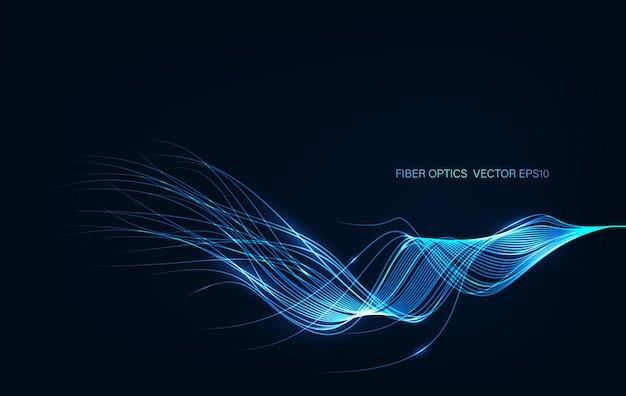 Ai inteligencia artificial líneas de onda red neuronal. vector en concepto de tecnología, luces de fibra óptica resumen de antecedentes.