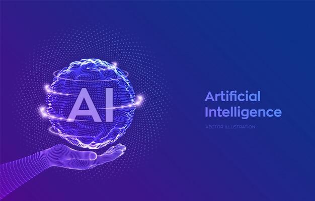 Ai. logotipo de inteligencia artificial en mano de estructura metálica. esfera con código binario.