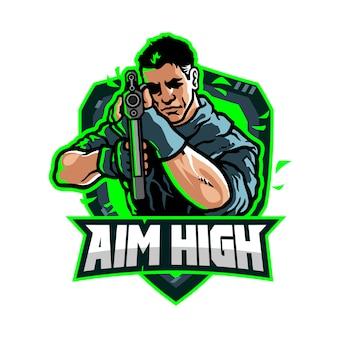 Aim high esport gaming team logo