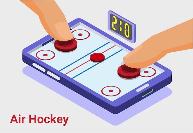 Air hockey game, isométrico, móvil, teléfono inteligente, multijugador, ilustración
