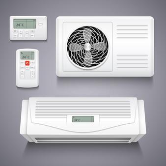 Aire acondicionado aislado ilustración vectorial realista. aire acondicionado de temperatura para el hogar, electr.