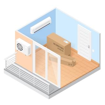 Aire acondicionado en habitación vacía con balcón. ilustración isométrica del hogar u oficina con sistema de condiciones. concepto de instalación de aire acondicionado de ventilación en casa o apartamento