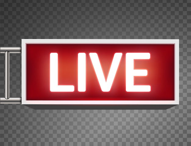 En el aire en vivo tv brillante, estación de radio, transmisión.