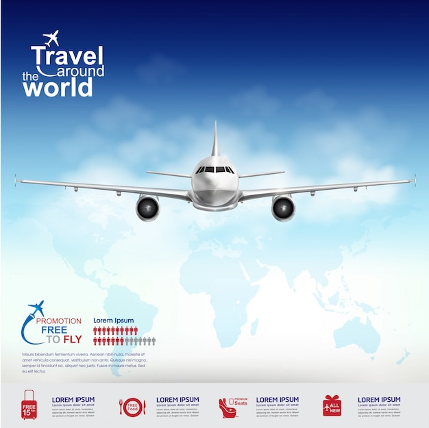 Airplane concept free to fly viajes alrededor del mundo