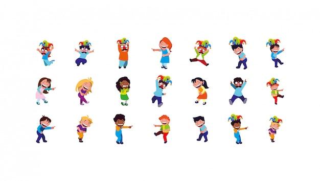 Aislados niños y niñas con conjunto de iconos de máscaras de carnaval