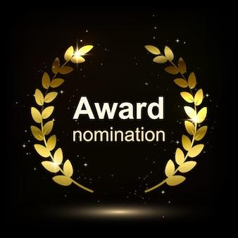 Aislamiento de elementos de premio sobre fondo oscuro. nominación de ganador. ilustración.