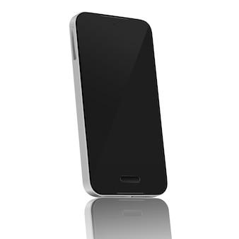 Aislamiento realista de la pantalla en blanco del teléfono móvil de 45 grados en el fondo blanco