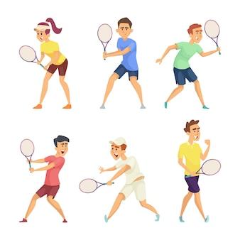 Aislante de los jugadores de tenis en el fondo blanco