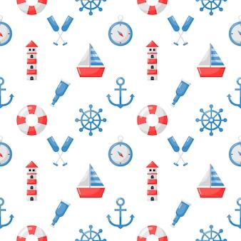 Aislar el estilo de dibujos animados de iconos náuticos de patrones sin fisuras en blanco