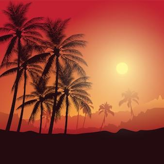 Ajardine con las palmeras del coco en el fondo de la puesta del sol, fondo de la silueta de la venta del verano.