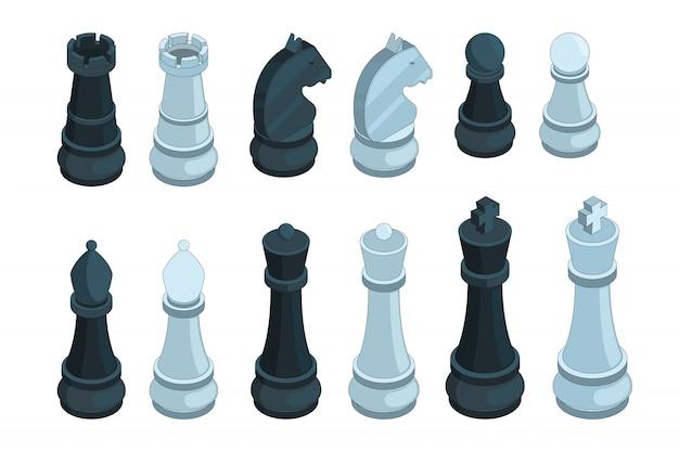 Ajedrez isométrico, juego de mesa figuras pieza reina obispo estrategia 3d conjunto aislado