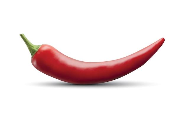 Ají rojo caliente aislado en blanco