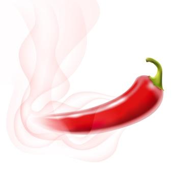 Ají rojo caliente con humo sobre blanco