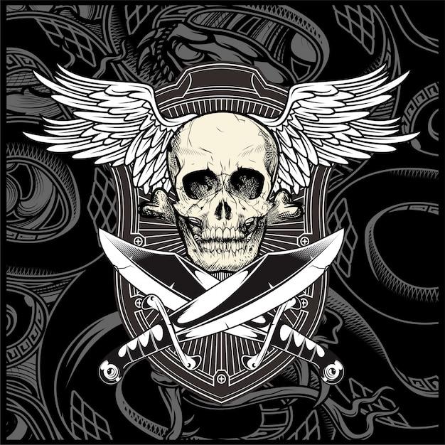 Ala de cráneo con espada vector
