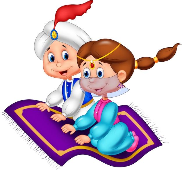 Aladdin en una alfombra voladora que viaja