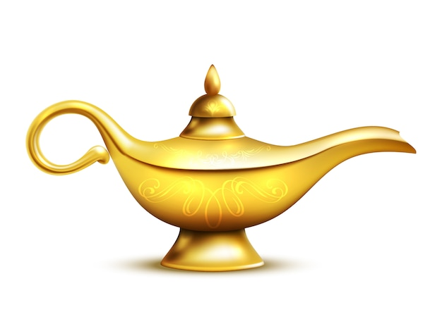 Aladdin lamp isolated icon