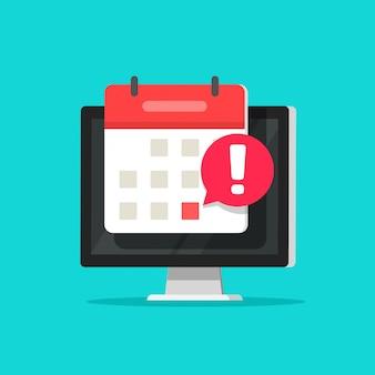 Alarma de fecha de evento de calendario como notificación de fecha límite en dibujos animados plana de símbolo de pantalla de computadora