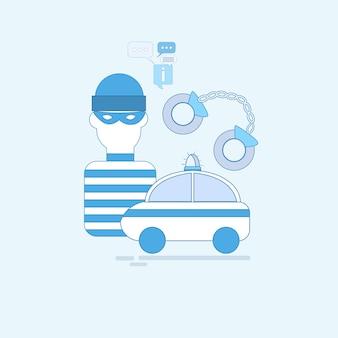 Alarma ladrón seguridad protección seguro web banner vector illustration