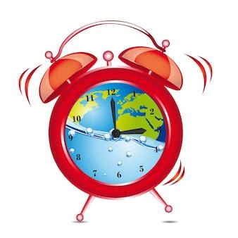 Alarma de reloj rojo con agua y planeta