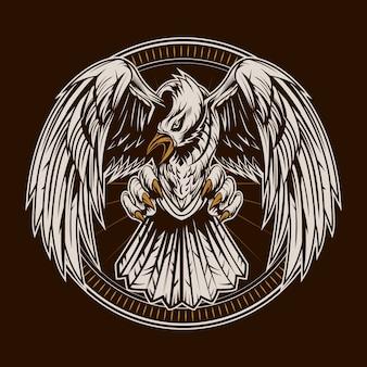 Alas de aleta de ilustración de águila con marco de emblema
