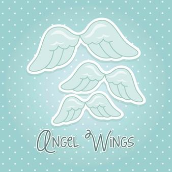 Alas de ángel sobre fondo azul ilustración vectorial