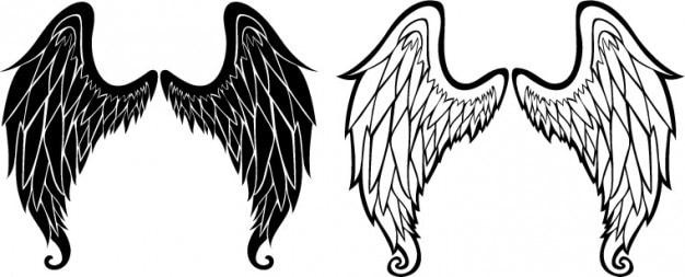 Alas de ángel esbozo iconos vectoriales