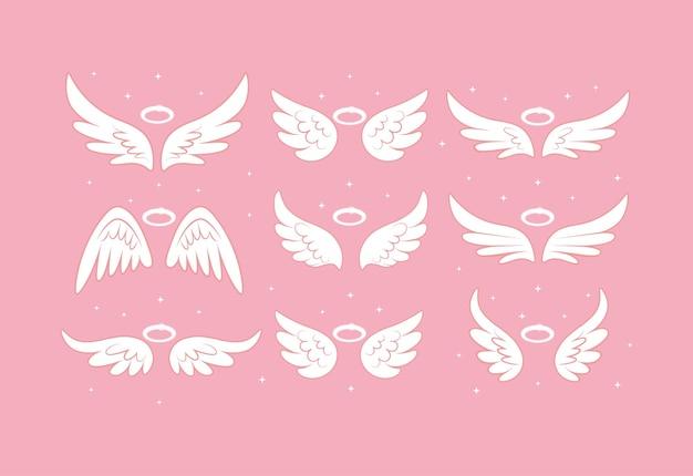 Alas de hada de ángel brillante con ilustración de nimbus dorado