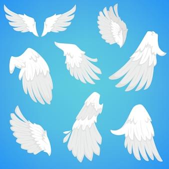 Alas vector iconos de plumas de aves blancas