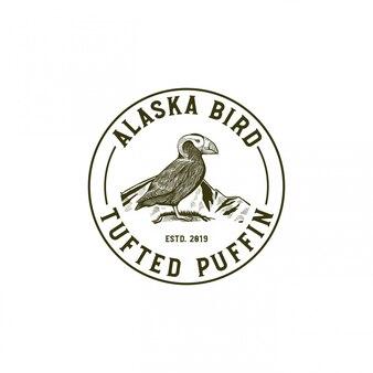 Alaska bird, ilustración de mascota de frailecillo copetudo