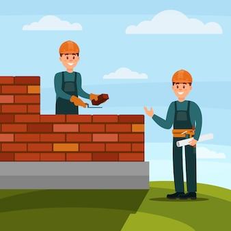 Albañil trabajador de la construcción haciendo un ladrillo con llana y mortero de cemento, capataz supervisando su trabajo en la ilustración de fondo de la naturaleza
