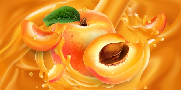 Albaricoques enteros y en rodajas en jugo de frutas.