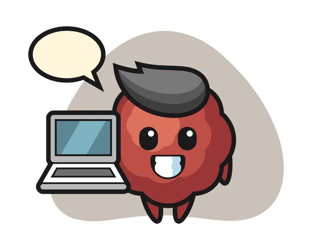 Albóndiga de dibujos animados con una computadora portátil