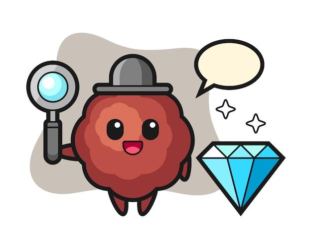 Albóndiga de dibujos animados con un diamante