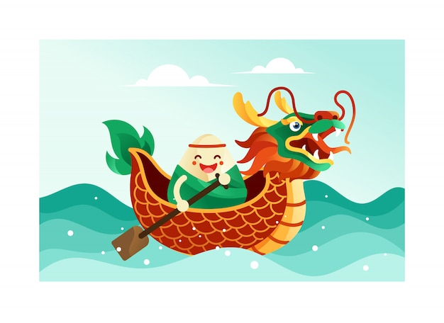Albóndigas de arroz chino en el festival del bote del dragón