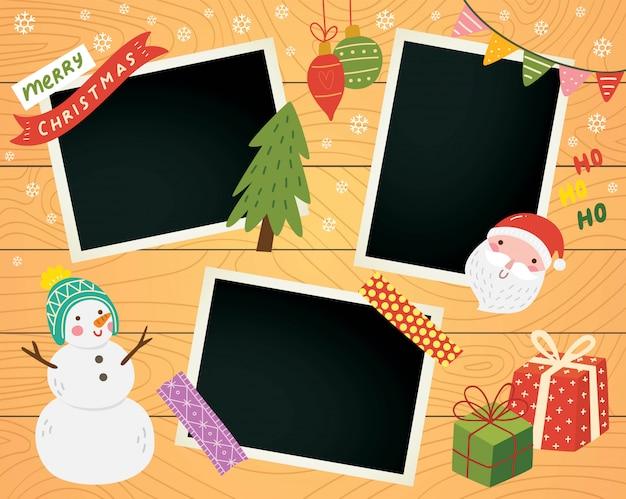 Álbum de recortes de navidad con marco de fotos