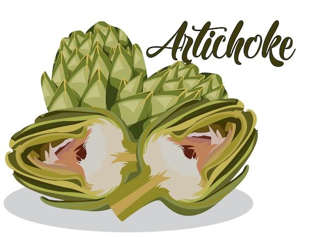 Alcachofa en fondo blanco