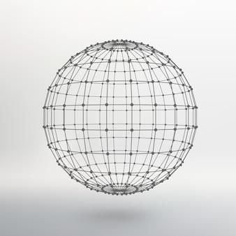 Alcance de líneas y puntos. bola de las líneas conectadas a puntos. rejilla molecular. la cuadrícula estructural de polígonos. fondo blanco. la instalación está ubicada sobre un fondo de estudio blanco.