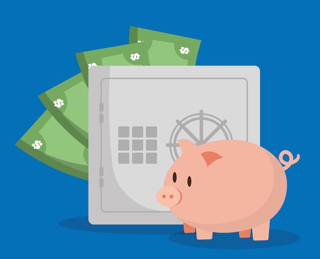 Alcancía con la imagen de los iconos relacionados con la banca