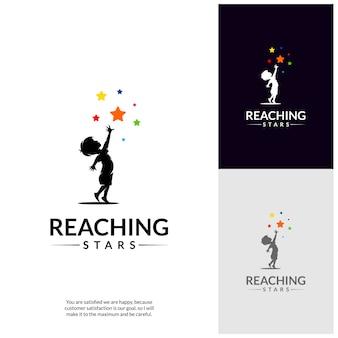 Alcanzando la plantilla de diseño de logotipo de estrellas. logo de la estrella del sueño.