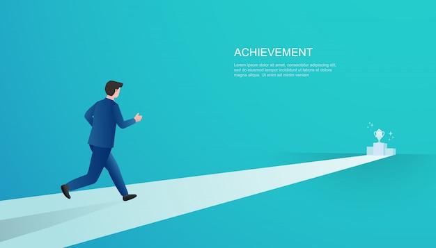 Alcanzando el trofeo. hombre de negocios corriendo por un logro y ganancias. ilustración del concepto de negocio