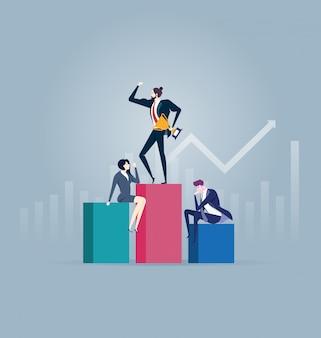 Alcanzar el éxito. concepto de líder empresarial.