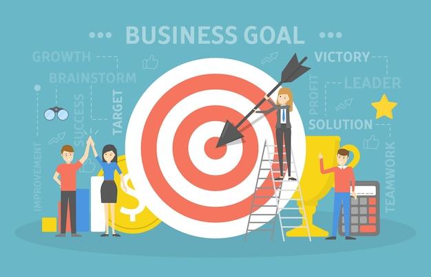 Alcanzar la ilustración del concepto de objetivo empresarial